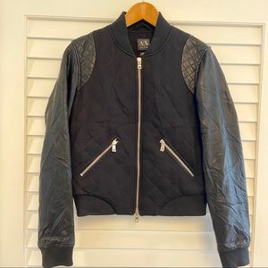 ARMANI EXCHANGE DIAMOND QUILTED LEATHER BOMBER S